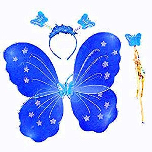 3-7 Jahre - Kostüm Set - Verkleidung - Karneval - Halloween - Theater - Schmetterlingsflügel - Fee - Stirnband - Zauberstab - Electric Blue - Girl