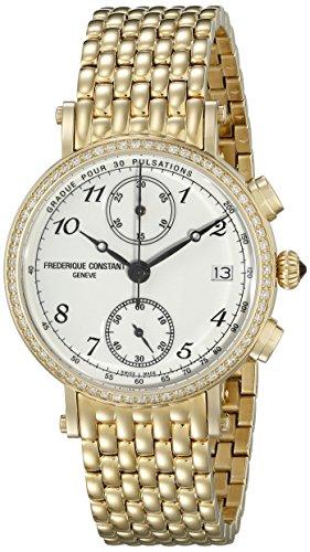 Frederique Constant Classics FC291A2RD5B 34mm Diamonds Yellow Steel Bracelet & Case Anti-Reflective Sapphire Women's Watch