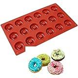 Allforhome Moule en silicone 18cavités Idéal pour confectionner des muffins/biscuits/chocolats/glaçons/savons Motif donuts
