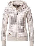 Ragwear Damen Jacke Sweatjacke Übergangsjacke Chelsea Zip Dots Beige Melange