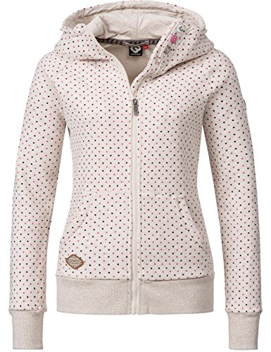Ragwear Mujer Chaqueta Sudadera Capucha Chelsea Zip (Vegano) fabricado) 12 colores XS – XL Dots Beige Melange Large