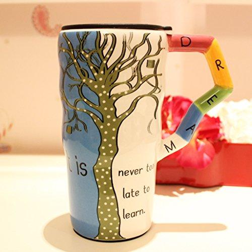 C&S Keramik Becher Tasse Deckel mit großer Kapazität handbemalte Kaffeetasse Baum Modellierung hohe Kapazität (Modellierung Von Bäumen)