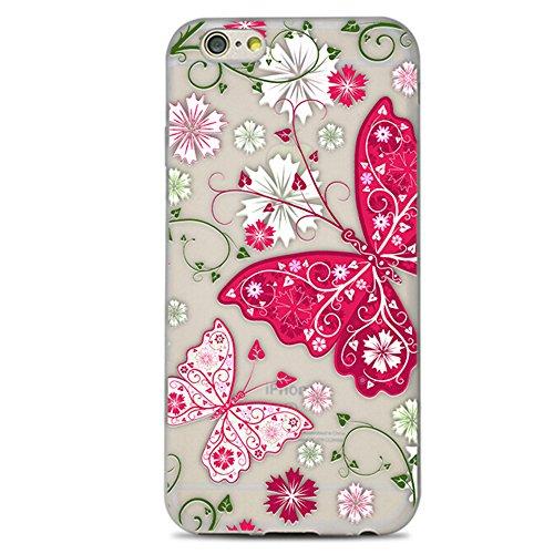 Lanveni Coque iPhone 6/6s,Etui Housse Case de Protection pour iPhone 6/6s Ultra Mince Transparent Silicone Dépolissement iPhone 6/6s en [TPU Souple] Légère Flexible Fleurs Fleurs 3 Fleurs Papillons