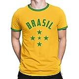 Buzz Shirts T-Shirt Homme Brazil 1960`S Étoiles Coupe du Monde 2018 Football Patriotique Brasil Retro