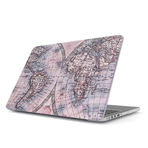 Glitbit Hülle Kompatibel für MacBook Pro 15 Zoll aus den Jahren 2016-2018, Modell: A1990 / A1707 mit Touch-Bar Map of The World Travel Wanderlust Road Trip Lets Go Weltkarte Welt Karte Plastik Case (Case Pro Travel Zoll Macbook 15)