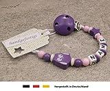 Baby SCHNULLERKETTE mit NAMEN | Schnullerhalter mit Wunschnamen - Mädchen Motiv Stern und Eule in lila