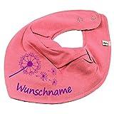 Elefantasie HALSTUCH PUSTEBLUME mit Namen oder Text personalisiert bubblepink für Baby oder Kind