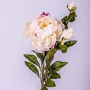 Pivoine artificielle MARIE, 1 fleur, 2 boutons, crème-rose, 80 cm - Fleur en soie / Pivoine sur tige - artplants