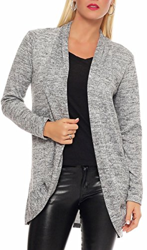 malito Damen Strickjacke lang   Cardigan im eleganten Design   angesagter Oversize Look - Weste - Jacke 5021 (hellgrau)