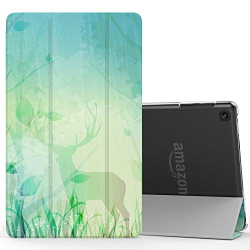MoKo Étui Housse Amazon Fire HD 8 - Etui à rabat avec support ultra-mince et léger en Polycarbonate pour Tablette Fire HD 8 avec Fonciton Réveil/Sommeil Auto(6ème génération - modèle 2016), Noir Faon dans la Forêt