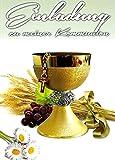 Einladungskarten Kommunion Junge Mädchen mit Innentext Motiv Kelch gold 25 Klappkarten DIN A6 im Hochformat mit weißen Umschlägen im Set Einladung Kommunion Mädchen Kommunionskarten mit Kuvert K214