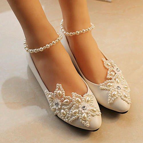 XINJING-S Weiße spitze Hochzeit Schuhe perlen Knöchel trap Bridal Wohnungen low High Heels Größe 5-12 3 cm Keil