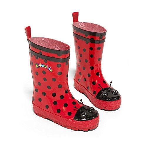Jugend Schwarz Patent Leder Schuhe (Kidorable Original Gebrandmarkt Gummistiefel / Regen Stiefel Marienkäfer für Jungen & Mädchen EU 32, rot)