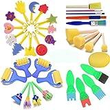 éponges de peinture pour enfants, Early Learning enfants Art & craft 34 pièces peinture pour enfants Kits Early DIY apprentissage Incluent en mousse Pinceaux, d'art Crafts éponge Brosse...