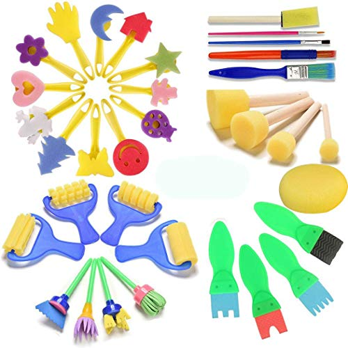 FUQUN Paint Sponges for Kids, Early Learning Kids Art & Craft 34 Pieces Sponge Painting Brushes Kids Painting Kits Early DIY Learning Include Foam Brushes