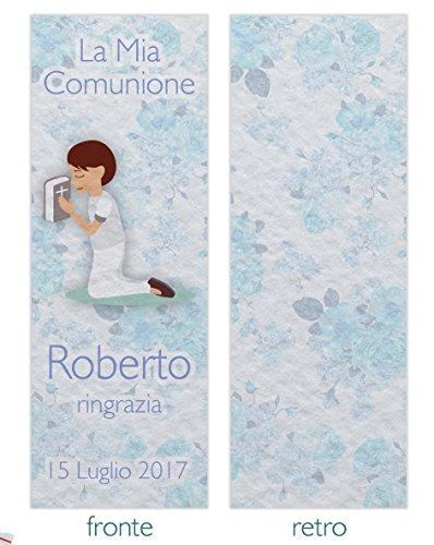 Segnaposto segnalibro bomboniera comunione 5x14 cm con busta - personalizzabile maschio partecipazione personalizzata