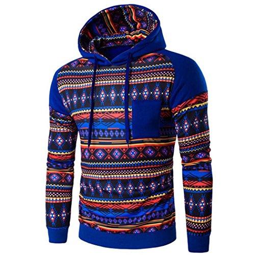 con cappuccio da uomo, FEITONG Boemia retrò manica lunga con cappuccio Top felpa giacca cappotto outwear (L, Blu)