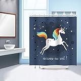 GWELL Einhorn Motiv Duschvorhang Wasserdichter Stoff Anti-Schimmel Duschgardine für Badezimmer 180x200cm Muster-D