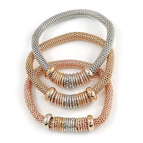 Unbekannt Avalaya 3er Set Dicke Mesh Flex Armbänder mit polierten/strukturierten Ringen in Gold/Silber/Rotgold - 19 cm L -