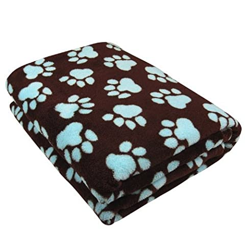 PB PAWS PET COLLECTION BY PARK B. SMITH Printed Fleece Throw, 50 by 60-Inch, World Paws, Coffee Bean/Light Aegean by Unknown