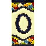 """Letreros con numeros y letras en azulejo de ceramica policromada, pintados a mano en técnica cuerda seca para placas con nombres, direcciones y señaléctica. Texto personalizable. Diseño MOSAICO MEDIANO 10,9 cm x 5,4 cm. (LETRA """"O"""")"""