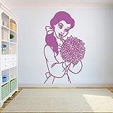 xingbuxin Princesse Belle Fleur Sticker Vinyle Autocollants pour Les Chambres d'enfants Beauté & Bête de Bande Dessinée Maison Intérieur Affiche Filles Art Mural 3 66x42 cm