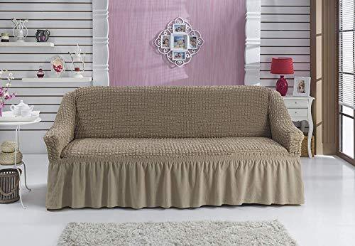Stretch 2 Sitzer Bezug, 2 Sitzer Husse aus Baumwolle & Polyester. Sehr elastische Sofaueberwurf in ockerbraun / hellbraun / elfenbein / camel / bone - 8