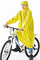 Cuzit Helmet & Sleeves Rain Poncho Bike Waterproof Cycle Rain Cape For Outdoor Sports Camping,Hiking,Fishing,Cycling - Full Face Cover Yellow