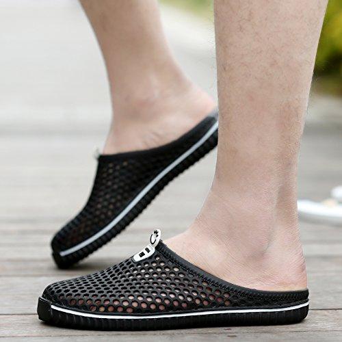 Respirant hommes sandales, chaussures, trou du tennis masculin face, les chaussures de plage, lazy Bird's Nest chaussons Blue