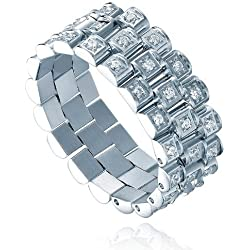 Stainless Steel 8mm Eternity Ring W. Triple Row Cubic Zirconia CZ Watch Band Link Style (Silver)