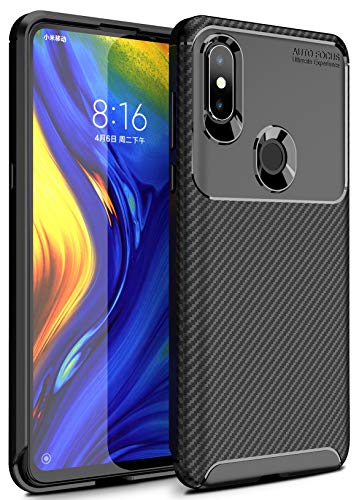 Case Collection Carbonfaser Design Hülle für Xiaomi Mi Mix 3 Hülle Komfortable Griffigkeit Slim-Fit [Schutz vor Stößen] Weiches Gel Rutschfestes Gummi [Kratzfest] für Xiaomi Mi Mix 3 Hülle