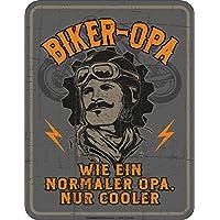 Original RAHMENLOS® Blechschild für den Biker-Grossvater: Biker Opa, wie ein normaler Opa, nur cooler