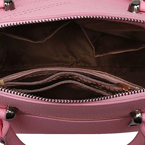 Borsa Donna A Spalla Mano Shopper Pelle Filo Per Cucire Borsa A Tracolla Pink