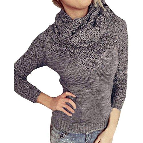 Pullover Damen Sweatshirt Ronamick Einfarbig Einfarbig Sexy Frauen Langarm Pullover Aushöhlen Pullover Casual Schal Kragen (Grau, S) (Damen Pullover Crewneck Cardigan)