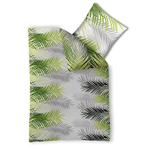 CelinaTex Fashion Bettwäsche 155 x 220 cm 2teilig Baumwolle Zoe Dschungel Weiß Grün Grau -