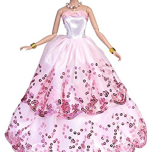 Preisvergleich Produktbild Creation® Das Erstaunlichste Kleid mit Pailletten, die Barbie-Puppe zu passen - Rosa