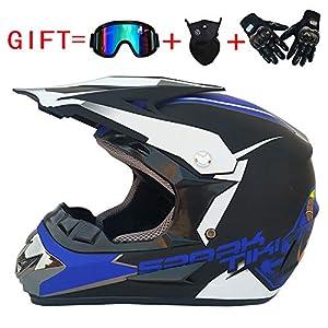 Acai Erwachsener Motocross Motorradhelm Und Erwachsene MX Motocross (Handschuhe, Brille, Maske, 4 Stück Set; Erhältlich In Mehreren Farben Und Stilen)