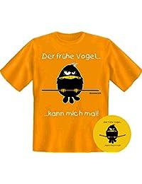 Fun Motiv Ihrer Wahl: DER FRÜHE VOGEL KANN MICH MAL auf Marken Schürze oder T-Shirt S, M, L, XL, XXL, 3XL, 4XL, 5XL. Zu jeder Lieferung 1 Button Früher Vogel