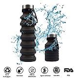 Bottiglia d'Acqua Pieghevole Portatile in Silicone, Borraccia Sportiva Senza BPA, per Viaggio, Escursionismo, Palestra, 550 ml, Unisex, Nero