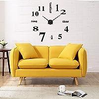 MMBox DIY gran reloj de vinilo 3d pegatinas pared reloj con Digital Número & Roma números, acrílico, Digital Black, 90-100cm(