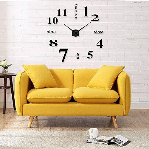 Mmbox orologio da parete con numeri romani adesivi 3d fai da te, dimensione grande, acrilico, digital black, 90-100cm(