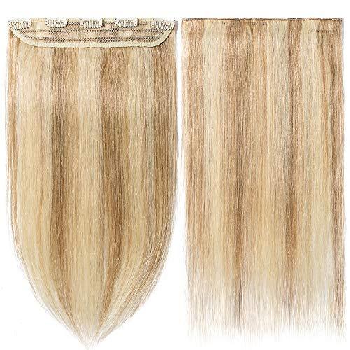 Extension capelli veri clip mèches fascia unica one piece remy human hair lunga 40cm pesa 45g, #12/613 marrone chiaro/ biondo chiarissimo