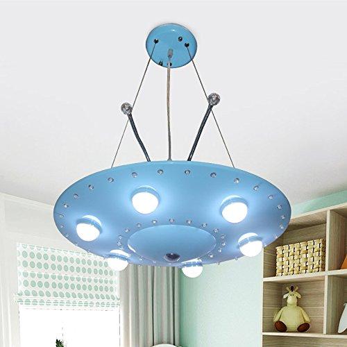 WoOnew Soucoupe volante bleu Lustre pour chambre d'enfant la personnalité de l'enfant créatif Dessin Animé Garçon Lampes LED Lampes de soins oculaires lustres chambre à coucher Küche Volant Blau