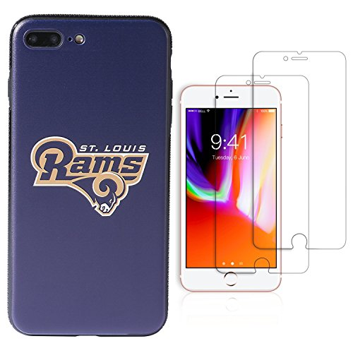 iPhone 8 Plus Fall, iPhone 7 Plus Fall, NFL Team Thema, TPU/PC Dual Schutz, Die 2 gehärtetem Glas Displayschutzfolie Extra Value Set, 5.5 inch, St. Louis Rams - Glas Backplate