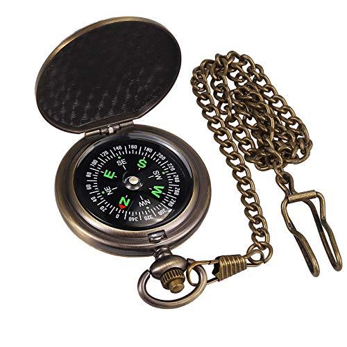 Proster Retro Kompass Tragbarer Militär Überlebenskompass Fluoreszierendes Leuchten Survival Ausrüstung Kompass Outdoor Navigation Kompass Werkzeuge für Camping Wandern Reiten