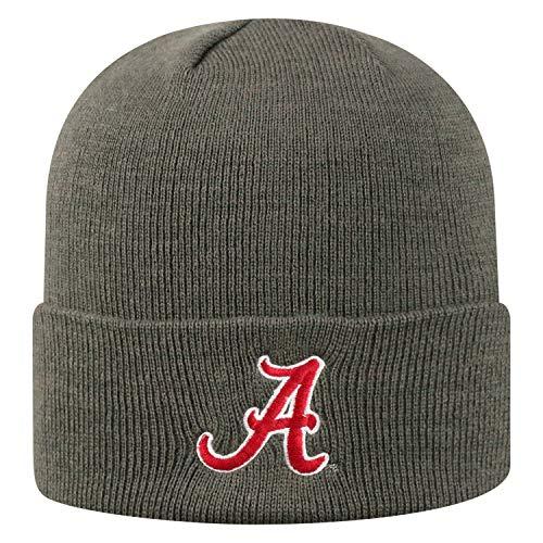 Top of the World NCAA Alabama Crimson Tide Men's Elite Fan Shop Winter Knit Cuffed Charcoal Hat, Charcoal - Crimson Knit Beanie