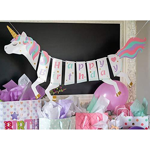 Yamiji Einhorn Alles Gute Zum Geburtstag Banner Geburtstag Party Dekorationen Supplies Einhorn unter Dem Motto Party Favors Dekorationen für Niedliche Fantasy Fairy Girls Geburtstag Party Supplies