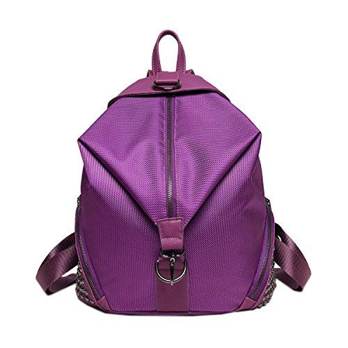 Niet Damen Licht Freizeit Große Kapazität Mode Individualität Rucksack Handtasche Purple