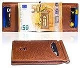 Travando ® Portemonnaie mit Geldklammer für Herren, LEDER Kreditkartenetui | Schmaler Geldbeutel mit Geldscheinklammer | Portmonee mit RFID-Blocker | Kartenetui | Brieftasche, Geldbörse mit Geldspange