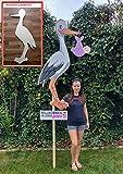 XL XXL SET 148 cm - Babystorch & Baby MÄDCHEN & Beschriftungstafel für draußen Geburt Storch-Holz Klapperstorch Holzstorch ROSA (EINSEITIG bedruckt, 148x60 cm)